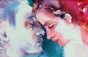 sinisellä ja punaisella maalattu pari