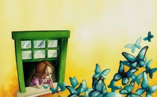 perhosia piristämässä tyttöä ikkunassa