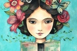 kukkaistyttö lukee