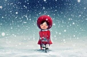 tyttö lumisateessa
