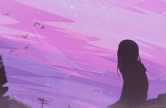 tyttö katselee violetille taivaalle