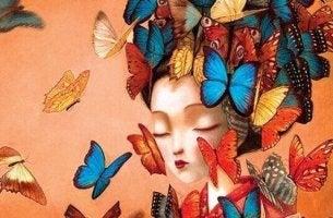 naisen pää on täynnä perhosia