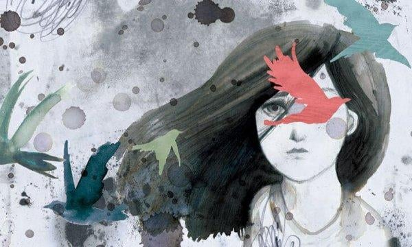 maalaus tyttö ja linnut