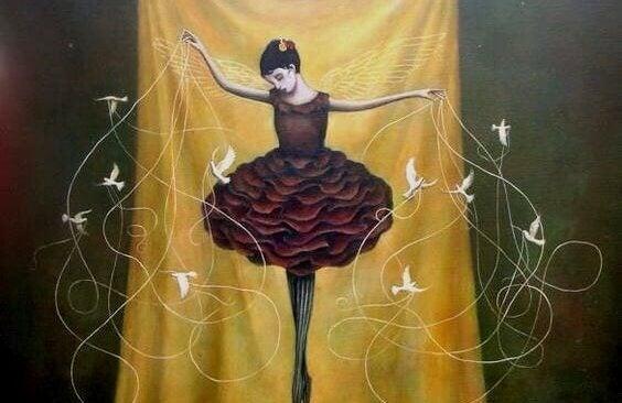 balettitanssija ja nuorat