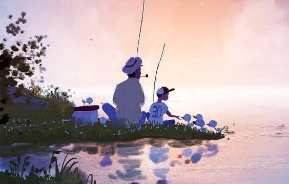 isä ja poika kalassa