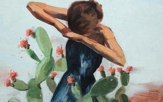 tyttö ja kaktus
