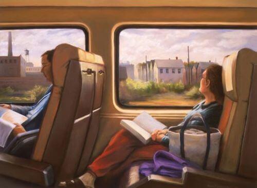 ihmiset lukevat bussissa tai junassa