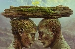 kaksi kivi-ihmistä