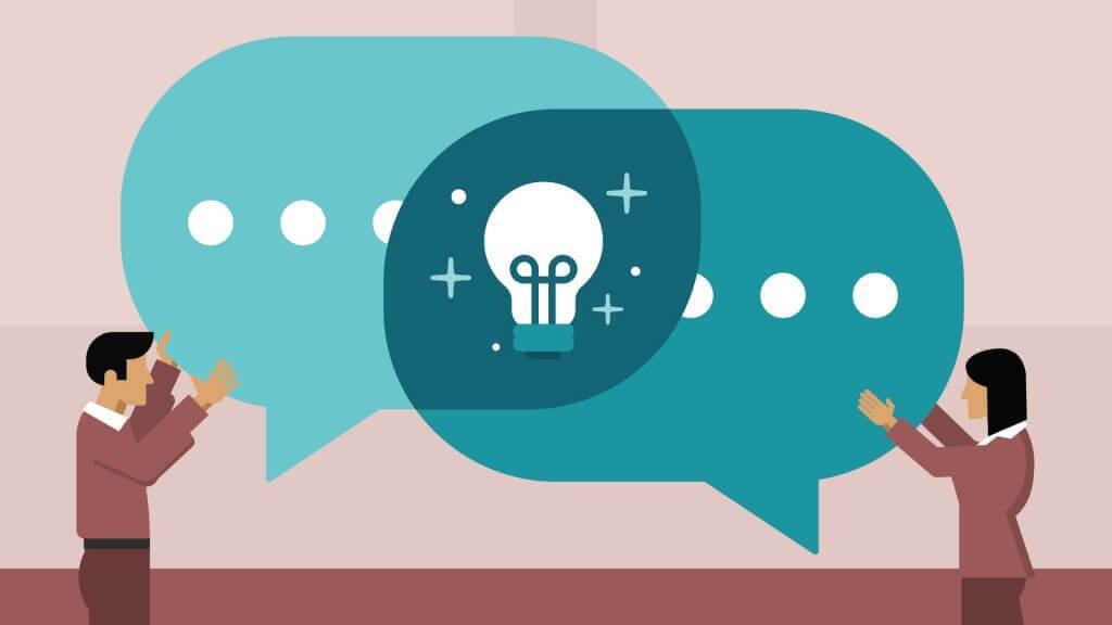 kaksi puhekuplaa yhdistyy ideaksi