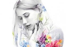 mustavalkoinen nainen ja värikkäät kukat