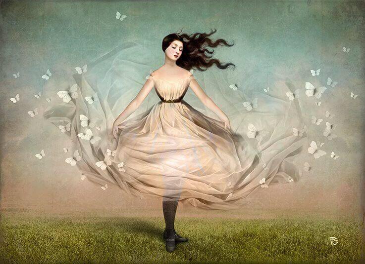 naisen mekosta lentelee perhosia