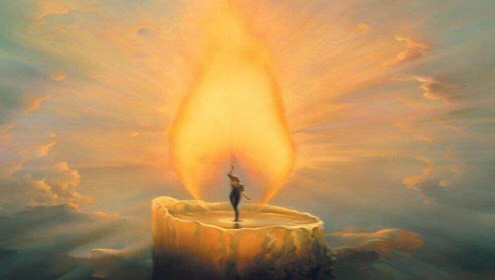 kynttilän palo on kuin aurinko