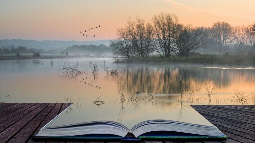 avoin kirja johon järvi heijastuu