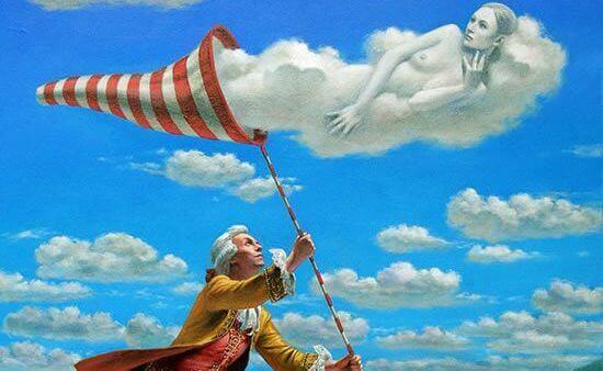 mies ja alastoman naisen muotoinen pilvi