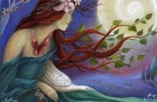 nainen, puu ja lintu