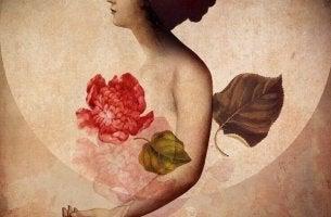 nainen ja suuri kukka