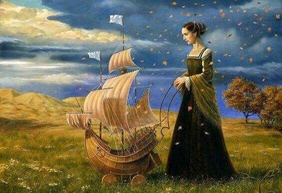 naisella on pieni laiva