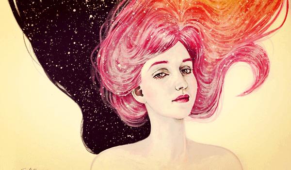 tytöllä pinkit hiukset