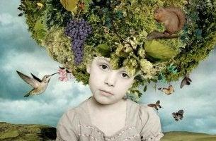 lapsella on luonto päässä