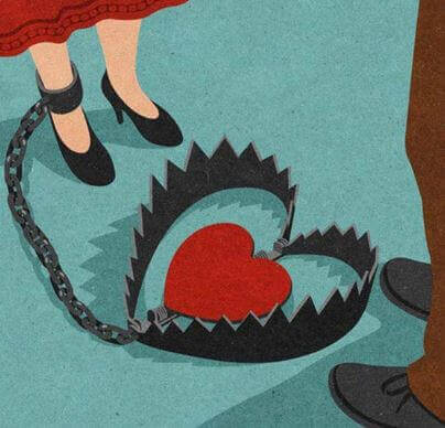 riippuvainen suhde: jalka kahlittuna sydämeen