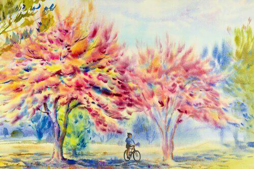 pyöräilee ulkona