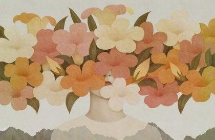 kukat peittävät naisen pään kokonaan