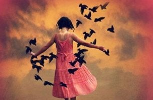 lintuja lentelee tytön ympärillä