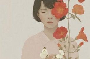 tyyni nainen jolla kukkia ja perhosia
