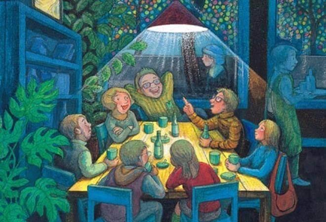 perhekokoontuminen ja syödään yhdessä