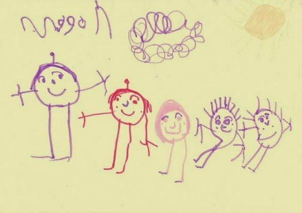 lapsi on piirtänyt perheensä