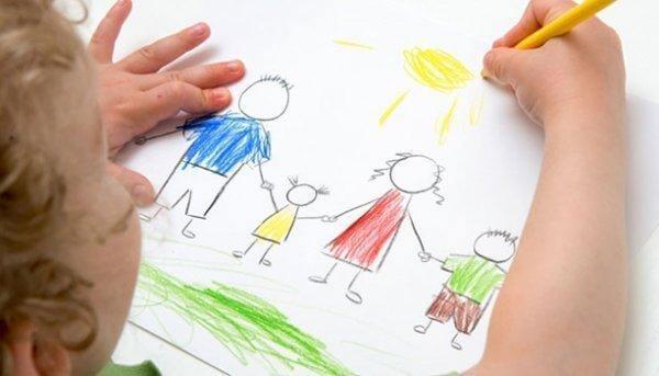 perhepiirustustesti: lapsi piirtää perheensä