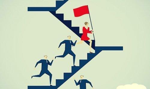 alfanaiset juoksevat portaissa miesten edellä