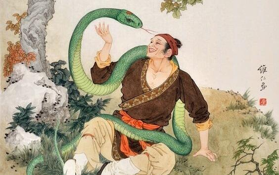 mies ja suuri käärme