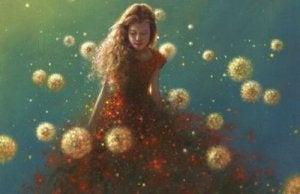 nainen ja lentävät kukat