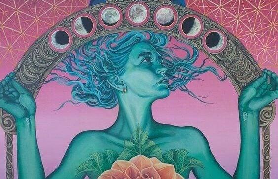 nainen kannattelee kuun eri vaiheita