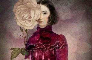 nainen ja suuri valkoinen ruusu