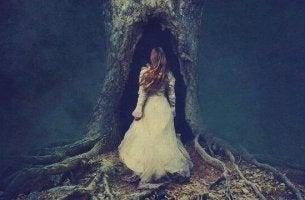 nainen on kävelemässä puun sisään