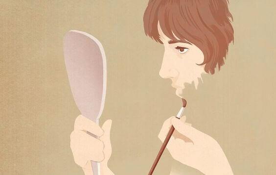 ihminen maalaa itseään