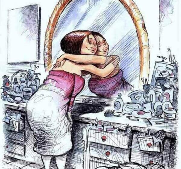 nainen halaa itseään peilissä