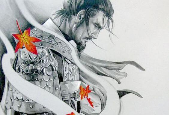 samurai ja syksyn lehdet
