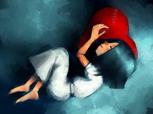 tyttö halaa korjattua sydäntä