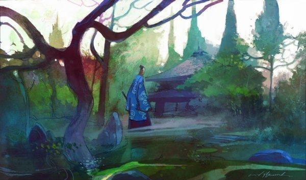 vanha mies asuu metsässä