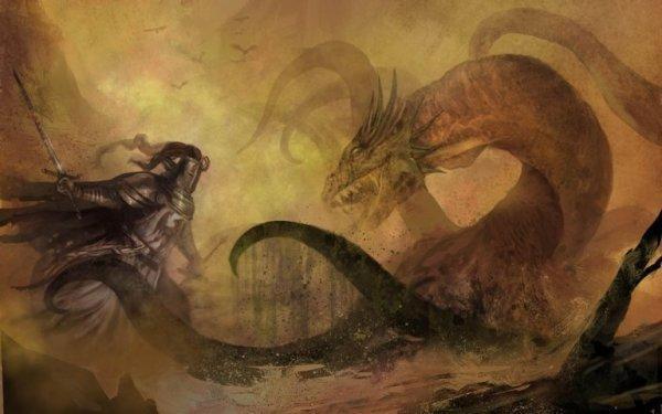 ritari taistelee lohikäärmettä vastaan