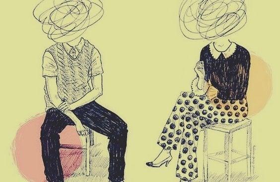 miehen ja naisen pää ovat suttua