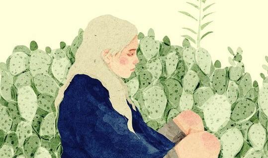 nainen kaktuspuskassa