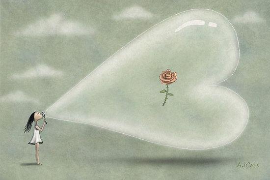 mietteitä tunneälystä: ruusu sydämenmuotoisen kuplan sisässä