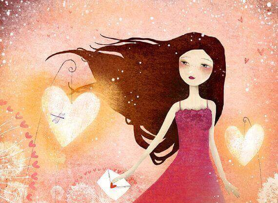 tyttö kantaa rakkauskirjettä