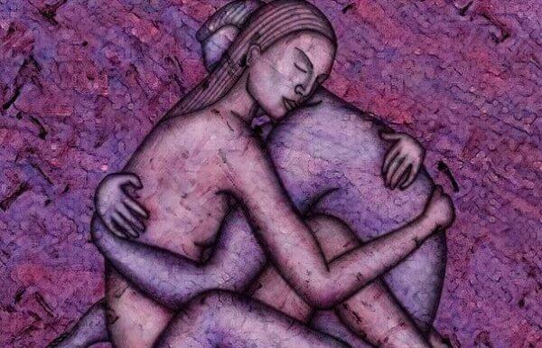 kahden alastoman ihmisen halaus