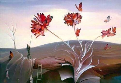 kirjasta kasvaa kukka