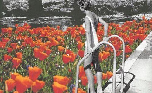 nainen aikeissa hypätä kukka-altaaseen